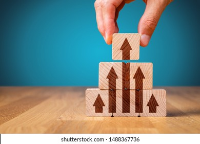 Business improvement, personal development and growth concept. Business person motivate to be market leader and the best. Benchmarking concept.