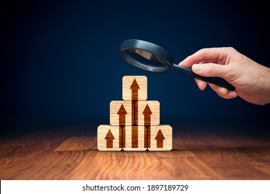 Business improvement, personal development and growth concept. Business person is focused on to be market leader and the best. Benchmarking concept.