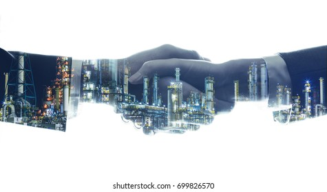 business and industry concept. businessperson shaking hands and modern factory image. mixed media.