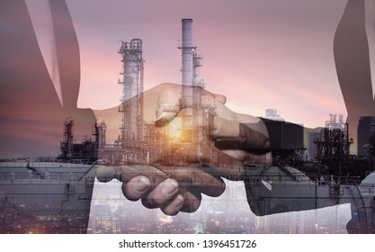 Business industry in petroleum cooperation agreement concept.