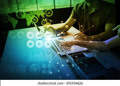 business and information technology abstract. IoT(Internet of Things). ICT(Information Communication Network). Mixed media.