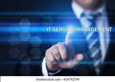 business, information technology, internet and virtual reality concept - businessman pressing it service management button on virtual screens with hexagons and transparent honeycomb
