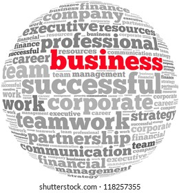 Business info-text graphics and arrangement concept on white background (word cloud)