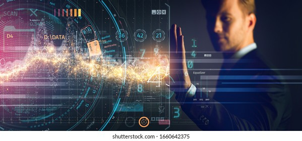 business innovation businessman formal suit hand control virtual futuristic device screen double exposure technology graphic design banner size