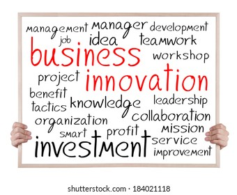 business innovation and other related words handwritten on whiteboard with hands