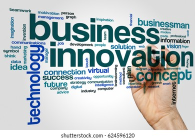 Business innovation word cloud concept on grey background.