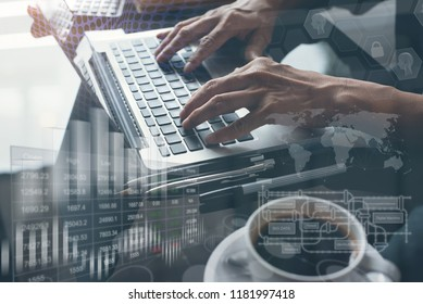 Business intelligence BI, artificial intelligence AI, Internet of Things IoT concept. Man working on laptop in office. Background of digital screen, big data diagram, financial graph on virtual screen