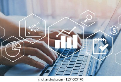business intelligence BI concept, financial charts to analyze profit and finance performance of company, hands typing on computer on background