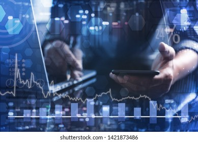 Business intelligence BI, modern technology concept. Business man, finance analyst working on smart phone and laptop with financial graph, computer dashboard and technology elements on virtual screen