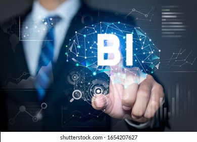 Business intelligence concept, Businessman with data analytics and key performance indicators on information dashboard for Business strategy