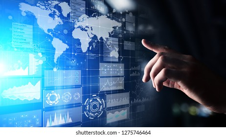 Business intelligence dashboard with graph and icons. Big data. Trading and investment. Modern technology concept on virtual screen.