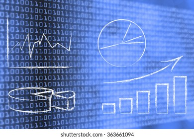 business intelligence and data analysis: different types of graphs on binary code and bokeh background