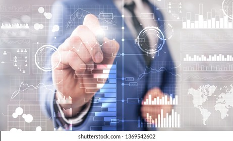 Business intelligence. Diagram, Graph, Stock Trading, Investment dashboard, transparent blurred background.