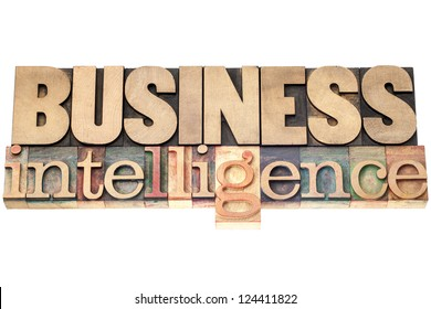 business intelligence - isolated text in vintage letterpress wood type printing blocks