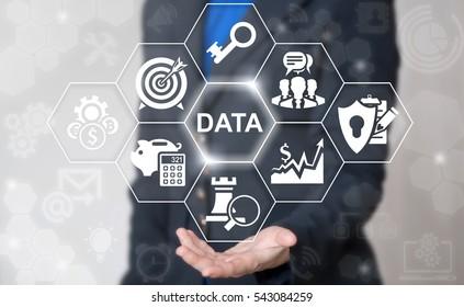 Business internet big data computer file document concept. Information server strategy success web technology