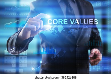 Business, Internet and technology concept.  Businessman select COre values.