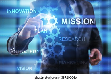 Business, Internet and technology concept. Businessman select Mission.