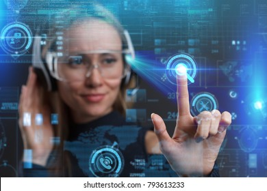 Business internet technology concept. Business Woman chooses Support 24/7 button on a touch screen interface