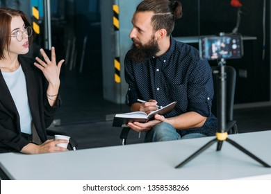 Business interview. Lady sharing professional experience on camera. Succesful career.