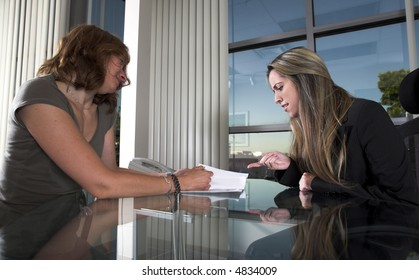 business interview themes with two women in an office