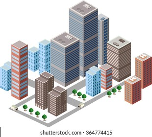 Business isometric city with many different houses, offices, skyscrapers, supermarkets and streets with traffic.