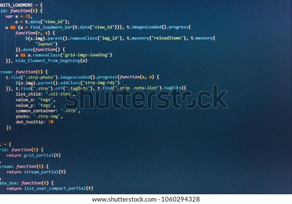 Business Javascript Code Text Editor Technology Stock Photo