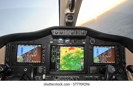 Business jet plane instrument panel