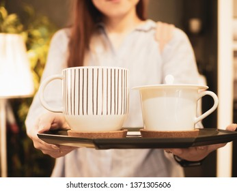 business and job for woman in labor day from beautiful girl service and serve hot coffee or tea in her coffee shop