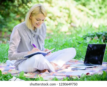 Business lady freelance work outdoors. Become successful freelancer. Freelance career concept. Guide starting freelance career. Managing business outdoors. Woman with laptop sit grass meadow.
