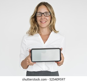 Business Lady Holding Digital Watch Concept