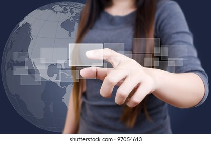 Business lady pushing button on the touch screen interface.