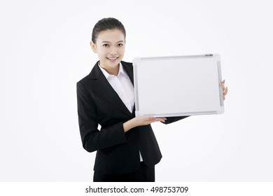 Business lady with white board