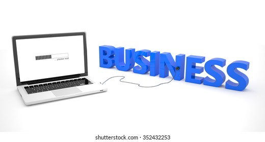 Business - laptop notebook computer connected to a word on white background. 3d render illustration.