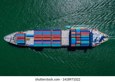 business large cargo containers ship logistics transportation international export and import services by the sea aerial top view