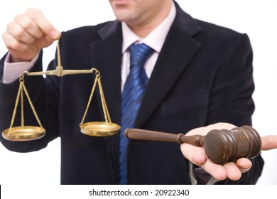 business and law concept with gavel and scales of justice