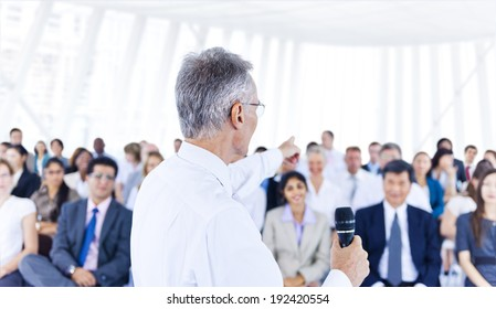 Business leader man training the other business persons