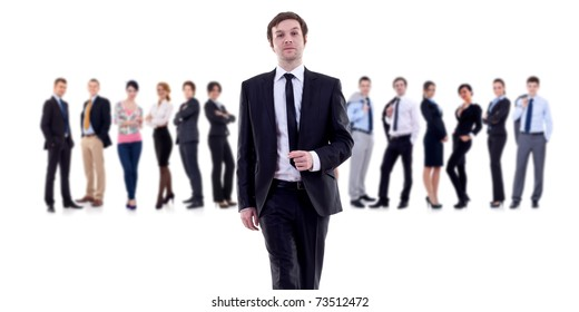 Business leader walking with his team behind isolated on white