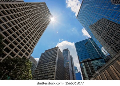 Business life Hong Kong.  Modern skyscrappers in Hong Kong