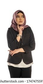 Business Lifestyle, Femme mignonne malaise portant le hijab, face critique