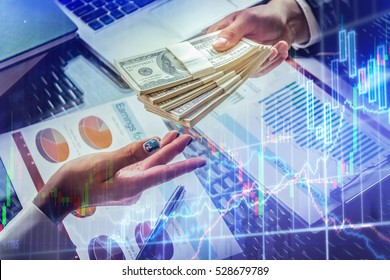 Business loan from a bank employee. finance concept