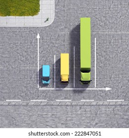 Business logistic transportation service growth background graphs illustration with colourful transport cars types and road infrastructure