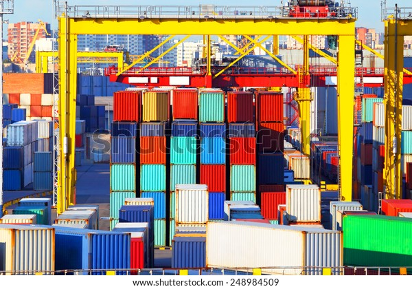 Business and logistics. Cargo transportation and storage. Equipment containers.