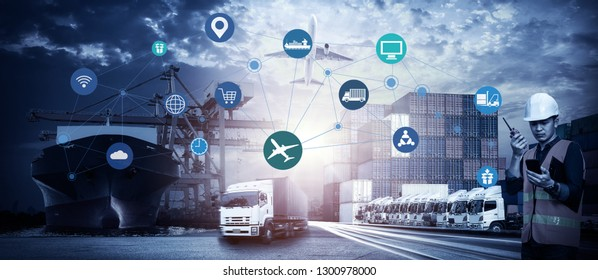 Business Logistics concept, Foreman Working with Global business connection technology interface global partner connection of Container Cargo freight ship for internet of things