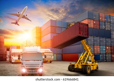 Business Logistics concept, Forklift handling container box loading and Container Cargo freight ship at sunset for Logistic Import Export background