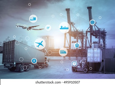Business Logistics concept, Global business connection technology interface global partner connection of Container Cargo freight ship for Logistic Import Export background, , internet of things