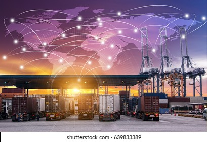 Business Logistics concept, Global network coverage world map,Truck with Industrial Container Cargo for Logistic Import Export at yard