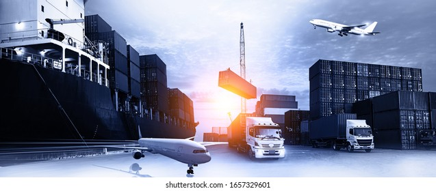 Business Logistics concept global partner connection of Container Cargo freight ship for Logistic Import Export background, Concept of fast or instant shipping, Online goods orders worldwide