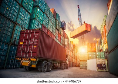 Business Logistics concept, map global partner connection of Container Cargo freight ship for Logistic Import Export background