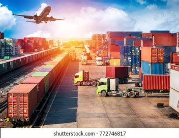 Business Logistics concept, plane, truck and train for Logistic Import Export background.