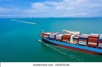 business logistics containers cargo ship-fright and import export  International open sea aerial view